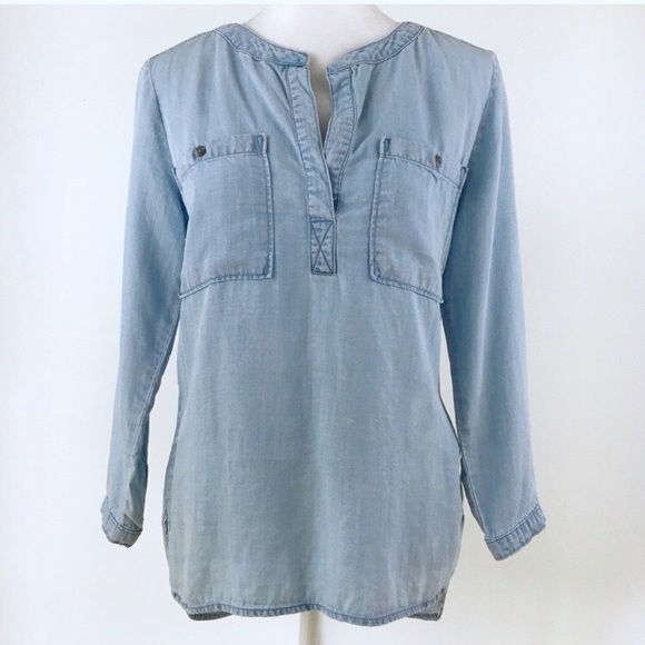 2f7711266b9 Anthropologie Tops - Anthropologie Cloth & Stone chambray popover top S